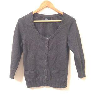 American Eagle Cardigan Sweater Gray 3/4 Sleeve L